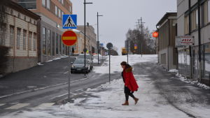 Rådhusgatan i Jakobstad är enkelriktad vid torgets nedre del