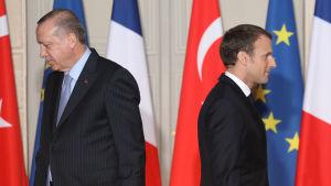 Turkiets president Erdogan och Frankrikes president Macron träffades i Paris.