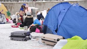 tält och kappsäckar utanför Helsinforsarenan då fansen köar till Marcus & Martinus-konsert
