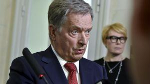 President Niinistö under presskonferensen den 26.3.2018.