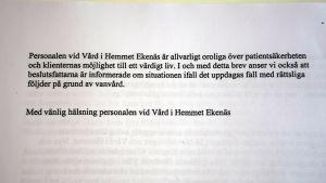 Ett brev från Vård i hemmet i Ekenäs till Raseborgspolitiker.