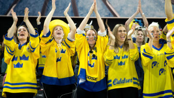 Svenska fans under ishockey-VM 2018.
