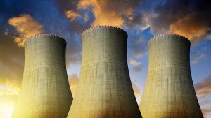 ydinvoimalan piiput iltataivasta vasten