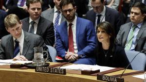 USA:s FN-ambassadör Nikki Haley håller ett anförande  i säkerhetsrådet.