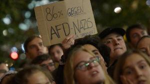 Demonstration mot det tyska högerpartiet Alternative für Deutschland (AfD) i Berlin den 24 september 2017.