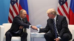 Donald Trump och Vladimir Putin träffades senast i Tyskland i somras och det är möjligt de träffas informellt i under Apecs toppmöte i Vietnam