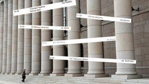Kollage med riksdagshuset och urklipp från besökslistorna.