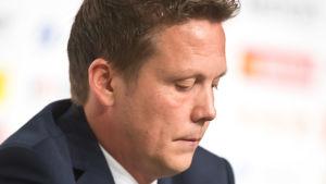 Lauri Marjamäki efter sin sista match som landslagstränare.