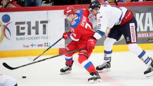 Marko Anttila i landslagströjan mot Ryssland.