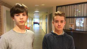 profilbild på åttondeklassarna Simeon Nordling och William Donner.