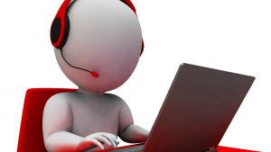En tecknad figurer som sitter vid en dator med telefonhörlurar på öronen.