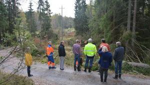 Representanter från Caruna och Relacom inspekterar avverkningsplatser på Skåldö.