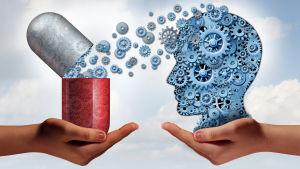 En illustration av en stort öppet piller därifrån det kommer små kugghjul ut och åker till ett huvud.