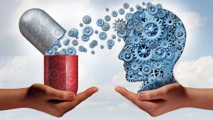 Illustrerade mediciner och ett huvud.