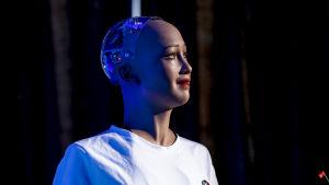 Humanoiden Sofia, skapad i Hong Kong av Hanson Robotics. 21.03.2018.