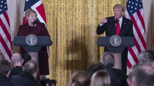 Erna Solberg och Donald Trump på en presskonferens i Vita huset.