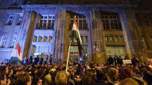 Demonstranter i Budapest 9.4.2017
