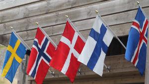 De fem norrdiska länders flaggor vajar på en trävägg.