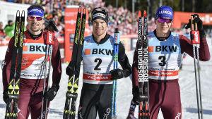 Sergej Ustjugov, Dario Cologna och Aleksandr Bolsjunov efter loppet.