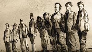 Teckning föreställande nio män på rak som väntar på att arkebuseras