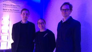Gustav Kjellin, Katarina Siltavuori och Daniel Golling på Designmuseet.