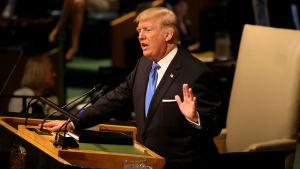 USA:s president Donald Trump höll sitt första tal inför FN:s generalförsamling den 19 september 2017.
