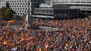 Colon-torget i Madrid förvandlades till ett hav av spanska flaggor.