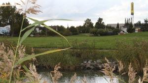 Sundet i Pargas med en stor gräsplan på andra sidan