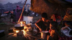 Flyktingläger i Bangladesh.