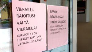 Besöksförbud på grund av norovirus vid Näse sjukhus.