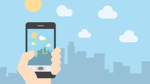 Käsi. älypuhelin ja taivasta. Grafiikka.
