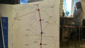 Karta över Rail Balticas sträckning genom Baltikum