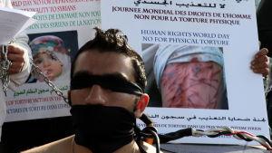 Arkivbild på demonstration i Beirut i krav om skydd för tortyrhotade syrier.