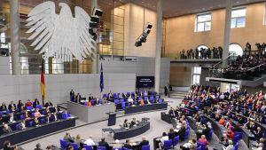 Tyska förbundsdagen under fredagens session. 30.6.2017
