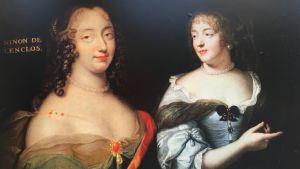 Riikka-Maria Pöllän väitöskirjan kansikuva: ranskattaret kurtisaani Ninon de Lenclos ja kirjailija Mme de Sévigné.
