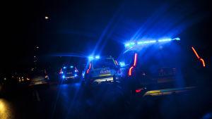 Polisbilar med blåljus kör efter varandra i mörkret.