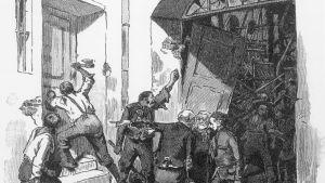 trägravyr föreställande maskinplundrare i 1800-talets Böhmen.