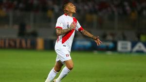 Paolo Guerrero firar ett mål i VM-kvalmatchen mot Colombia.