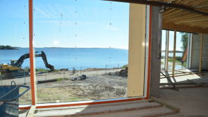 Utsikten då man simmar i Hangö havsbad.