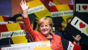 Tysklands förbundskansler Angela Merkel talade i den tyska staden Reutlingen den 9 september 2017.