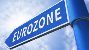 En skylt med texten Eurozonen.