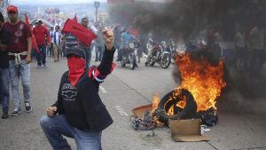 Demonstration i Tegucigalpa. Man står på knä framför brinnande bildäck.