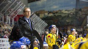 Förbundskapten Per Mårts bakom den svenska spelarbänken.