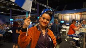 Sandhja efter den första semifinalen i Eurovisionen.