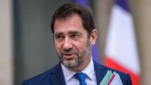 Den franska regeringens talesman Christophe Castaner utanför presidentpalatsen i Paris i augusti 2017.