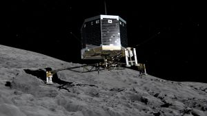 Animering av hur Philae landar på kometen 67P, Churyunov-Gerasimenko.