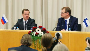 Statsminister Juha Sipilä och Rysslands premiärminister Dmitrij Medvedev möttes i Uleåborg den 9 december 2016.