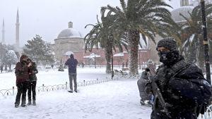 Snöoväder i Istanbul.