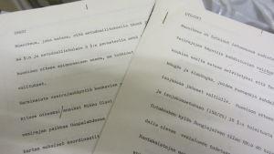 Pohjois-Suomen maaoikeuden päätös paperilla, vesipiirirajankäynnit Inarissa ja Utsjoella
