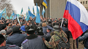 Demonstration i Simferopol på Krim år 2014